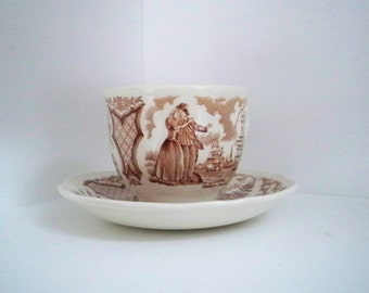 Vintage Serving Teacup New York Brown Transfer Ware Fair Winds Meakin Staffordshire England