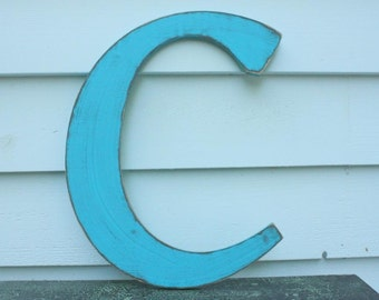 "18"" Wooden Letter Wall Letter Uppercase Shabby Chic Cottage Home Nursery Decor - Handpainted Turquoise Rustic Wood Alphabet Letter C"