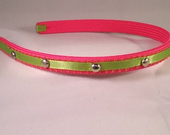 Pink and Green Headband with silver Studs