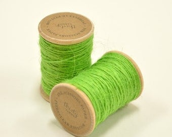 Burlap Twine - 30 Yards on Wooden Spool - Bright Green Color Jute
