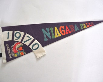 70s Pennant Niagara Falls 1970s Canada Native Indian Vintage Purple with  Neon