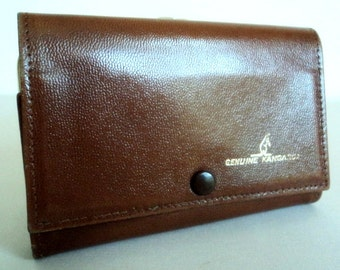 Vintage 1970's Genuine Kangaroo Brown Tri-Fold Wallet