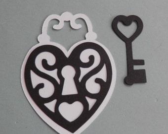 multi layer lock and key - die cut - set of 10