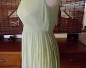 Vintage 60s Key Lime Chiffon Knife pleat Mini Cocktail Dress S M Free Shipping