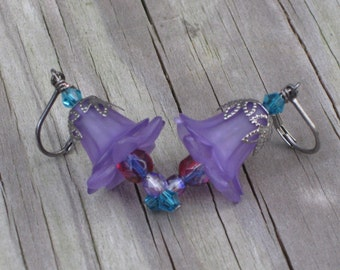 Purple and Blue Lily Flower Earrings  Clearance