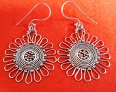 Balinese silversmith art  Sterling Silver Dangle Earrings / 2 inches long / handmade jewelry / silver 925