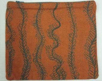 Corn Stripe Screen Printed Cotton Purse Pouch Make up Case