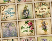 He Is Risen / Resurrection / Jesus / Easter Christian Religious Printable INSTANT DOWNLOAD 1x1 Inch Square Tiles Digital JPG Collage Sheet