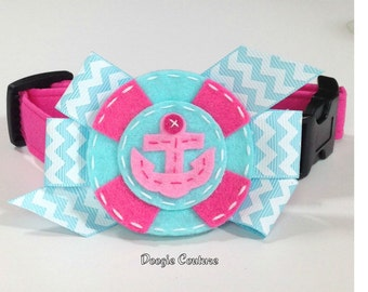 Pink and Aqua Anchor Dog Collar Size XS through Large by Doogie Couture Pet Boutique