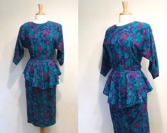 SALE Vintage Green & Purple Floral Peplum Dress