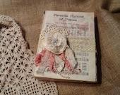 Vintage shabby chic hymnal - embellished, shabby flower, lace ,rhinestone, weddings OFG