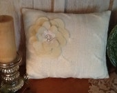 Cream  sweater pillow, large felt flower with lace and rhinestone center, ooak