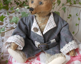 Wonderful plaid handmade coat for your bear vintage style with buckle and trim Bearwear
