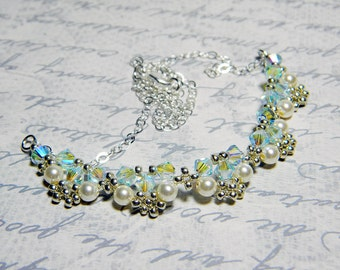 """Swarovski Crystal and Pearl Lace Beadweaving Necklace Silver Beads Sterling Silver - """"Edwardian Lace"""""""