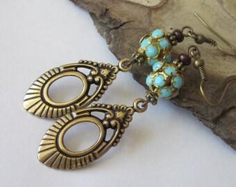 Victorian Chandelier Earrings Blue Rhinestone Antiqued Gold Brass Vintage Antiqued Brass Fish Hook