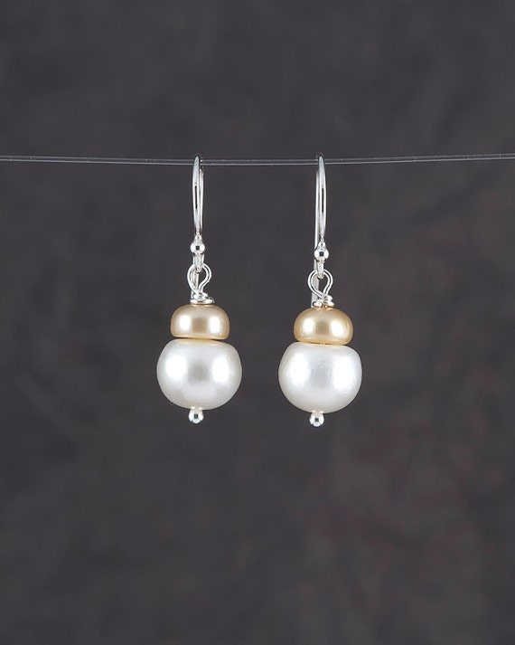 White freshwater pearl with cream freshwater pearl earrings; lovely Mother of the Bride or Groom gift