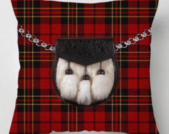 Scottish tartan red sporran throw cushion / pillow