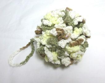 Green Pouf, Crochet Bath Puff, Cotton Shower Puff, Cotton Bath Scrubbie, Yellow puff