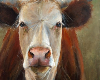 Cow Painting - Veda -  giclee print of an original painting on fine art paper by Cari Humphry