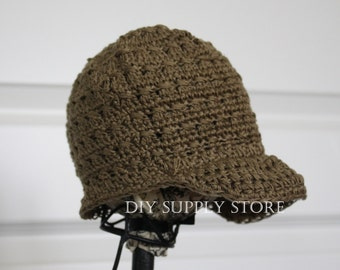 CLOSEOUT - Toddler Mocha Brown Crochet Newsboy Hat - TODDLER SIZE