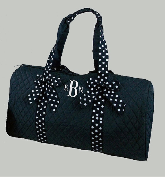 Monogrammed Duffle Bag Quilted Navy With Navy And White Ribbon Trim -Personalization Included-Dance Recital-Travel-Gymnastics