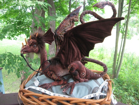 Reserved for Teresa - Do not purchase unless you are she! This is Ceylon,a very beautiful brown shoulder dragon, Percher dragon, Dragontry