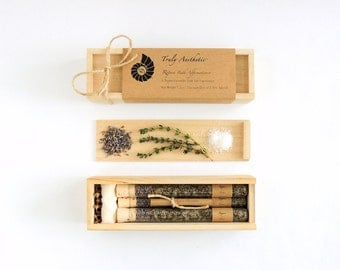 Organic & All Natural Thyme Lavender Herbal Bath Salt Test Tubes. (Repose Bath Affirmations) Winter, Eco, Spa, Luxury Gift Set.