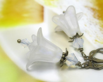 Pure White Earrings, Frosted Soft White Flower Earrings, Alabaster Swarovski Crystal Bridal Jewelry, Wedding Earrings, Boho Chic for Her