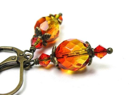 Czech Glass Earrings, Fire Opal, Orange, Yellow, Gold, Antiqued Brass, Dangle Earrings, Two-toned Beads, Summer Earrings, Sunset, Lever Back