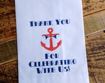 Vintage Sailor Baby Shower Thank You Favor Bags Gift Navy Anchor Personalized 5x7