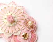 Pink and Gold Embroidered Brooch