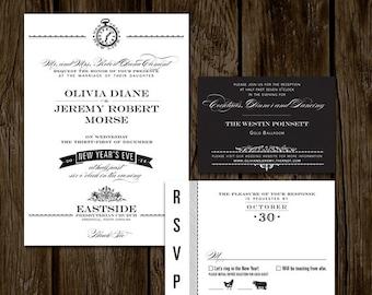 Vintage New Years Eve Printable Wedding Invitation Set // NEW YEARS