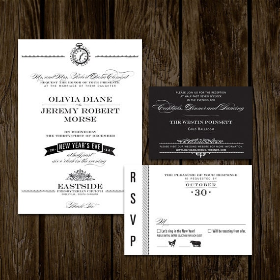 new years eve wedding invitations items similar to new years wedding invitations on etsy 6154