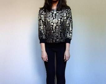 80s Black Gold Sweater Sweatshirt Three Quarter Sleeve Top - Small Medium S/ M