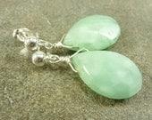 Seafoam Green Gemstone Post Earrings Sterling Silver