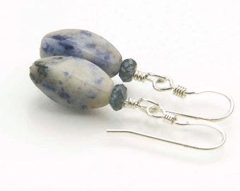 Sodalite Gemstone Earrings- Sodalite Twists and Blue Quartz Earrings- Sterling Silver Earrings- Third Eye Chakra - Gift for Her