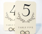 Wreath Table Number Cards with Rounded Corners