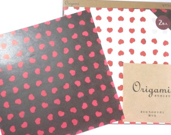 Strawberries and Hearts Origami Paper - Red and Black Plus Origami Folding Instructions ( 20 sheets total - 10 in red , 10 in black )