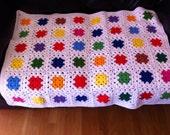 Beautiful vintage granny square baby blanket or lap blanket