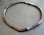 NEW BEGINNINGS BANGLE, Fused Silver & Copper Bangle Bracelet, Custom Word Stamping Available