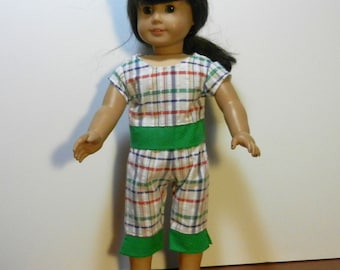 DC Green and White Plaid Top & Capri Pants with Green and White Polka Dot Trim  - 18 Inch Doll Clothes fits American Girl