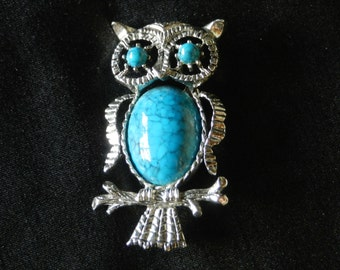 Vintage Gerry's Silver-Color Metal Owl with Faux Turquoise Stones, Pendant or Brooch