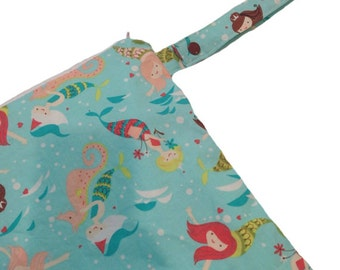 14x14 Sweet Bobbins Wet Bag - SEAM SEALED - Snap Strap - Boutique Quality -Mermaids at play