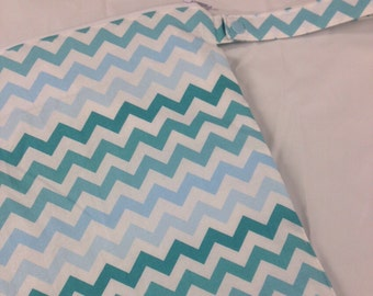 14x14 Sweet Bobbins Wet Bag - SEAM SEALED - Snap Strap - Boutique Quality - Turquoise Ombre Chevrons