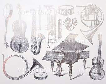 SALE!  Music Instruments Decals for Glass or Ceramic