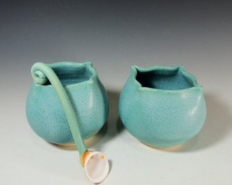 Salt Cellar Set with a Shell Spoon in Aqua Glaze / Kitchen Food Prep / Handmade Pottery in Stoneware Clay
