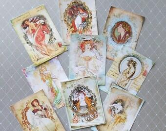 Set of Mucha ATC's or Mucha TAGS- Set of beautiful pastel designs on Cardstock- Alphonse Mucha prints Art Nouveau Mucha Art Trading Card set