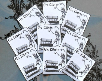 Dancing Skeleton BOOK PLATES- Set of NINE Gorgeous Black & White detail Prints on Adhesive backed Paper, Day of the Dead stickers Bookplates