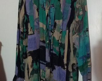 Bonnie Boynton blouse rayon abstract modern xs pleated pleats shirt 80s 1980s