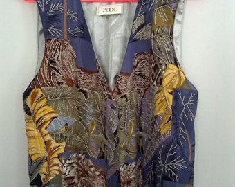Zoog beaded vest floral flower 1980s bugle bead embroidered grunge new large